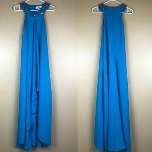 Belle Badgley Mischka Turquoise Halter Jewel Dress